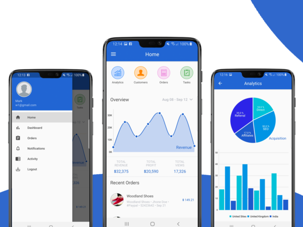 android dashboard app template